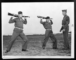 Fort Slocum, New York. Jimmy and Joe joined the Atlantic Coast Transportation Corps Officers Training School.  Here, they are doing rifle calisthenics under instruction from Sergeant John A. Bender.