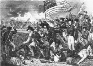Jackson leading the US to a victory against the British in the Battle of New Orleans