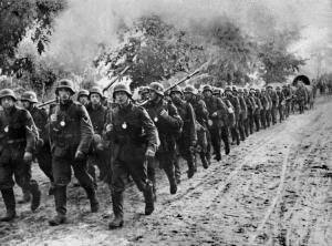 German troops march into Poland following the start of hostilities on September 1, 1939