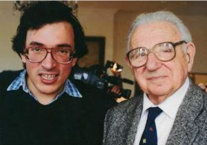 Director Matej Mináč (left) with Sir Nicholas Winton