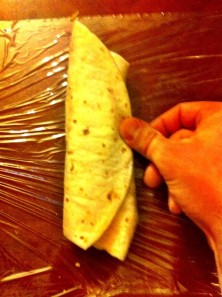 STEP 7 - Fold over the left side of the tortilla
