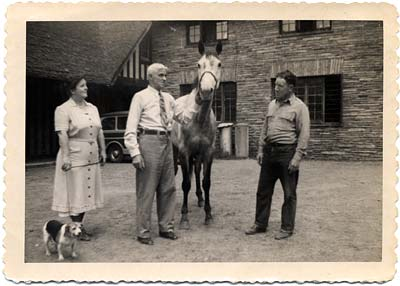 Hopkins, his wife Gertrude, horse Bluebell and friend Ned Wehrman at Pocantico Farms, in '48 or '49