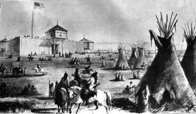 An artist's depiction of Ft. Laramie, Wyoming