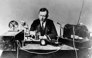 Marconi operating apparatus similar to that used by him to transmit the first wireless signal across the Atlantic Ocean, 1901