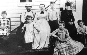 Nikola Tesla's family at their home in Smiljan