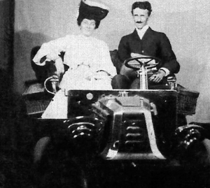 Tesla with an unknown woman