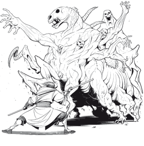 An Allomancer encountering a mistwraith. Although they are entirely harmless, they are shockingly scary at first